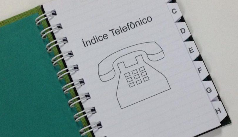 A agenda de telefones